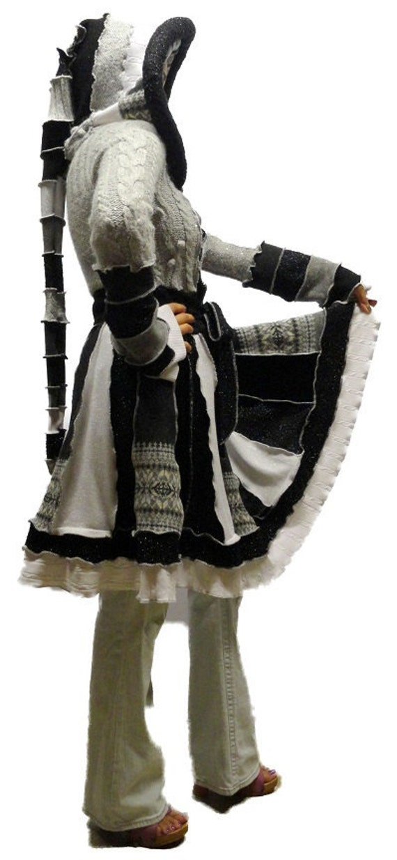 "Elf Coat --""Winter Wonderland"" Sparkle OOAK Upcycled Recycled Patchwork Fairy Sweater Coat with Medieval Hood - Small - AVAILABLE NOW"