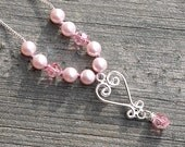 Pink Pearl Necklace Hand Knotted, Pink Bridesmaid Necklace, Heart Pendant with Pearls