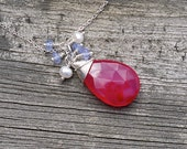 RESERVED for Kara--Wire Wrapped Chalcedony, Sterling Silver Gemstone Pendant, Hot Pink Dangle Necklace