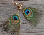 SALE---Peacock Feather Earrings, Green Pearl, Feather, and Copper Dangles