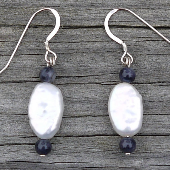 SALE- Coin Pearl Earrings, Black and White Sterling Silver Earrings