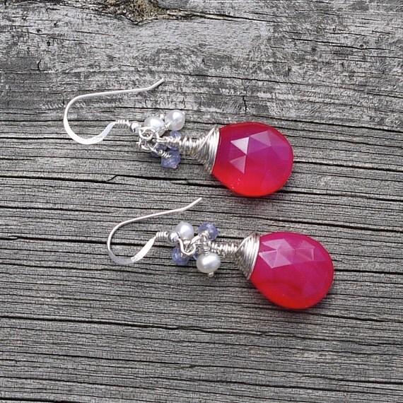 Chalcedony Drop Earrings, Hot Pink Gemstone Earrings, Wire Wrapped Sterling Silver Earrings