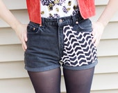 The Joelle - high waisted reconstructed chevron front black cuffed denim shorts