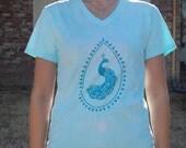 Aquamarine Peacock Screen Printed Small T-Shirt