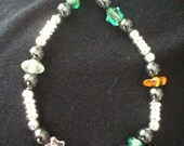 Bracelet with sterling silver, hematite and glass beads with stars