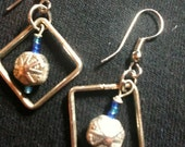 Silver triangles with silver dangle and seed beads