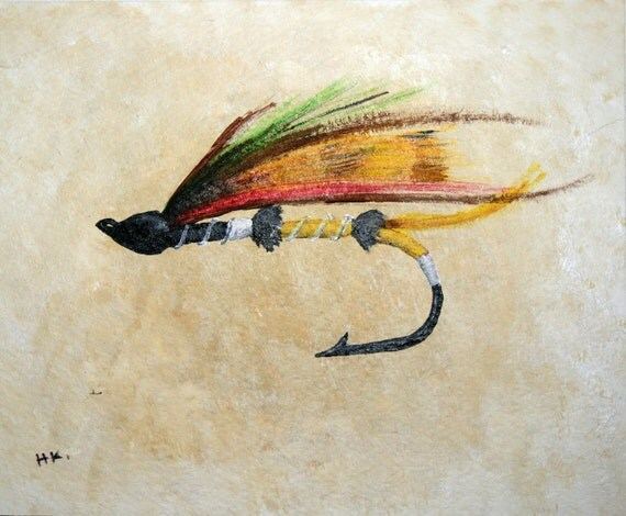 Fly fishing lure 4 5 x 5 5 original painting for Fishing lure paint