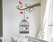Vinyl Decal- Scrollwork Tree Branch with Birdcage Wall Sticker
