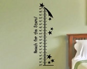 Growth Chart Wall Decal with Stars Baby Girl Nursery Boys Bedroom Wall Decor Girls Bed Room Decor Toddler Tween Room Sticker Decoration