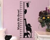 Growth Chart Decal with Monkey Giraffe Turtle Elephant Koala Bear Girls Room Decal Boys Bedroom Wall Decal Baby Girl Nursery Decor Baby Boy