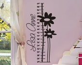 Growth Chart Wall Decal Personalized Monogrammed Fun Flowers Baby Girl Nursery Sticker Decorations Girls Bedroom Vinyl Decor Lettering