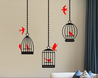 Birdcage Wall Decals set of 3 Birdcage Decor Birdcage Wall Stickers Vinyl  Wall Art Bird Decals Birds Removable Decoration