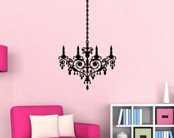 Chandelier Wall Decal Wall Decor Chandelier Decal Chandelier Decor Chandelier Sticker Chandelier Wall Art Crystal Chandelier Silhouette