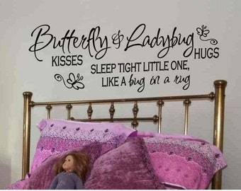 Girls Bedroom Wall Art Butterfly Kisses and Ladybug Hugs Wall Quote Decal Sticker Decorations Baby Girl Nursery Decor Removable Vinyl Letter