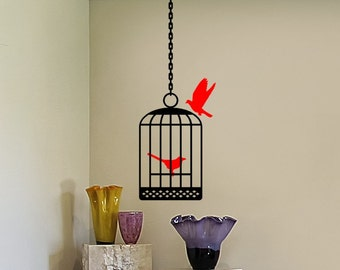 Bird Cage Decals - Bird Cage 2 Birds and Hanging Chain