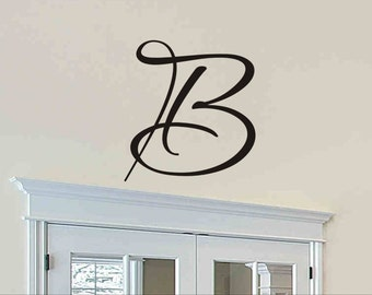 initial wall decal single letter monogram wall sticker removable vinyl lettering initial wall decor cornhole board decals 12 inch 12aq