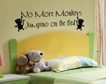 Kids Room Decals Wall Quote Sticker No More Monkeys Jumping On The Bed Removable Nursery Decal Decorations Boys Girls Bedroom Vinyl Decor