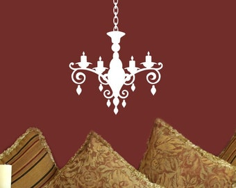 Chandelier Decal Wall Decor Vinyl Decorations Fancy Silhouette Sticker Candles Removable Decor