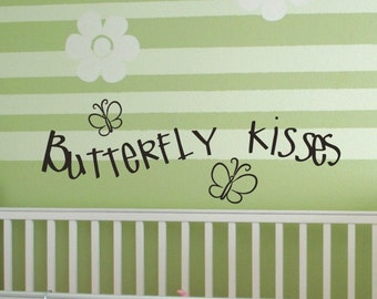 Butterfly Kisses Nursery Wall Decals with Two Cute Butterflies