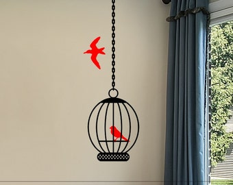 Wall Sticker Decal Birdcage with Birds Master Bedroom Wall Decor