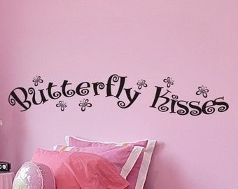 Butterfly Kisses Wall Decal - Childs Bedroom Wall Decor