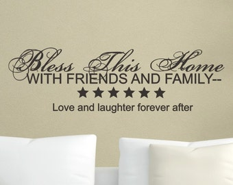 Wall Decal - Bless This Home - Living Room Foyer Wall decor