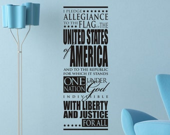 Patriotic Wall Decal Sticker I Pledge Allegiance To The Flag Vinyl Lettering