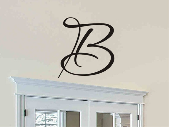 single letter monogram decal wall sticker initial wall decal