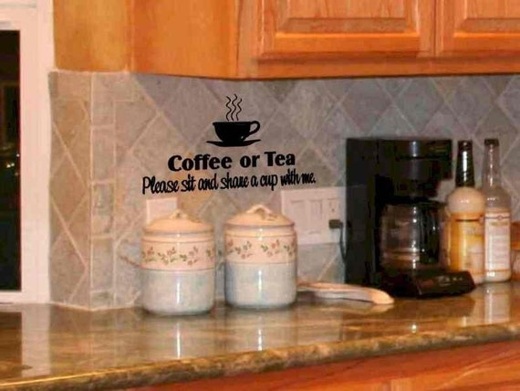 Items similar to kitchen wall decal coffee or tea please for Tea and coffee wall art