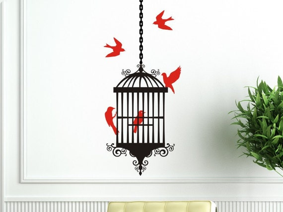Bird Cage Wall Decal with Bird Cage, 5 Birds and 1 length of hanging chain