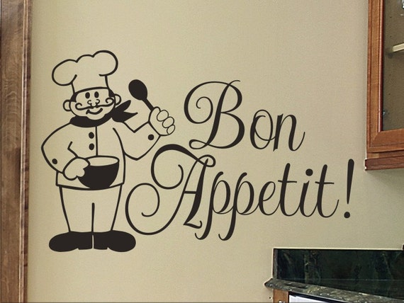Bon appetit wall decal kitchen with chef wall sticker - Stickers cuisine enfant ...