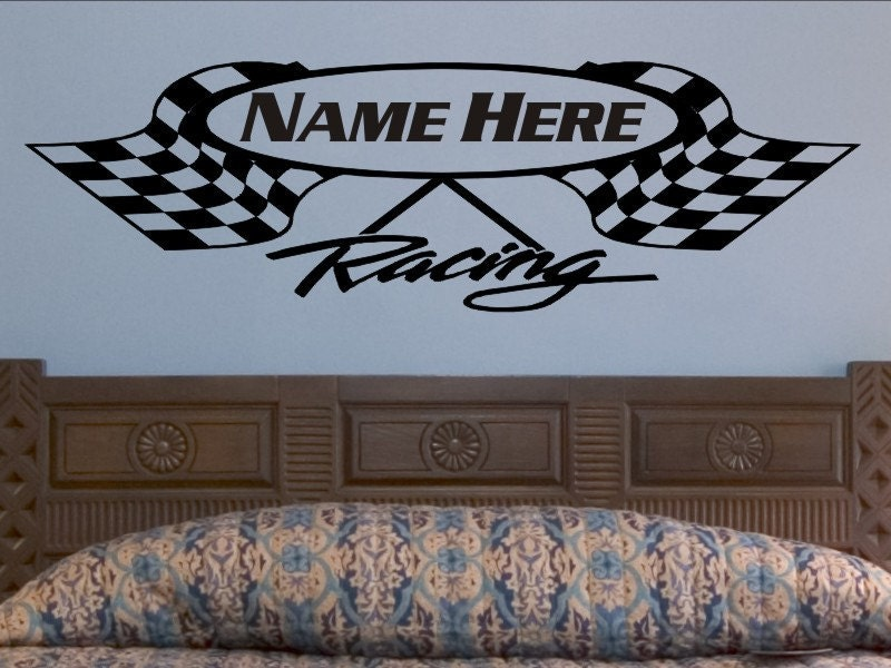 Personalized Bedroom Wall Decor : Crossed checkered flag wall decal personalized racing flags