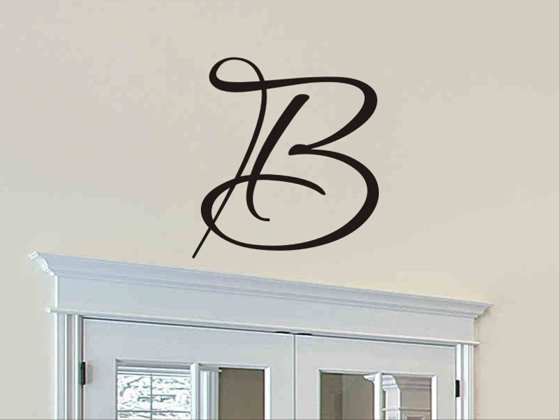 Single letter monogram decal wall sticker initial wall decal for Alphabet wall mural