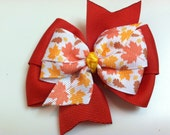 Red Yellow Orange & Brown HARVEST Leaves FALL Autumn Stacked Boutique Style Ribbon Bow Handmade for PETS Dog Collar Accessory
