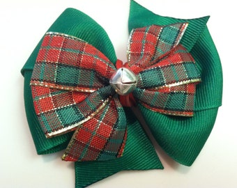 Dark Green & Red Green Gold Plaid Jingle Bell HOLIDAY CHRISTMAS Stacked Boutique Style Ribbon Bow Handmade for PETS Dog Collar Accessory