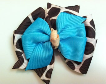 Giraffe Safari Print with Turquoise and Peach Stacked Boutique Style Ribbon Bow Handmade for PETS Dog Bow Collar Accessory