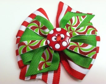Red & White Candy Cane Peppermint Button HOLIDAY CHRISTMAS Stacked Boutique Style Ribbon Bow Handmade for PETS Dog Bow Collar Accessory