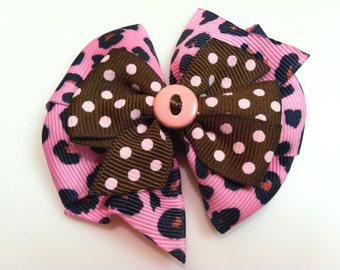 Hot Pink & Pink Leopard Print and Brown with Light Pink Polka Dots Stacked Boutique Style Ribbon Handmade for PETS Dog Bow Collar Accessory