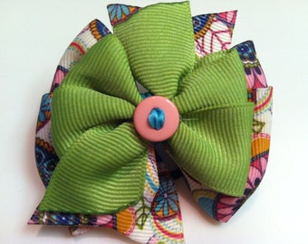 Pink Orange Yellow Multicolor Floral Print & Lime Button Stacked Boutique Style Ribbon Bow Handmade for PETS Dog Bow Collar Accessory