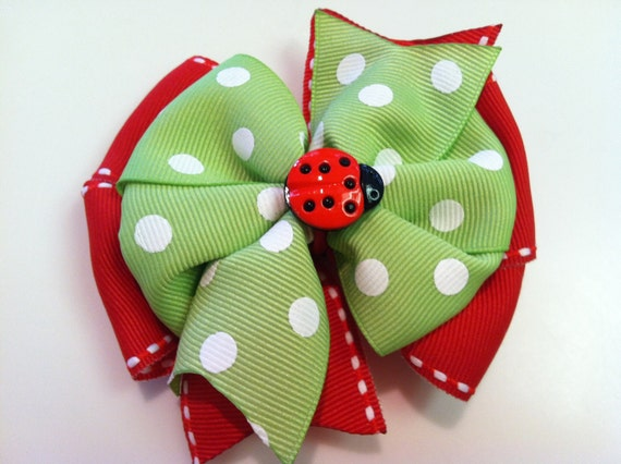 Red & Green and White Polka Dots LADYBUG Spring Stacked Boutique Style Ribbon Bow Handmade for PETS Dog Collar Accessory