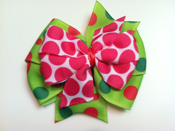 Pink, Hot Pink, Green Polka Dot Print Stacked Boutique Style Ribbon Bow Handmade for PETS Dog Bow Collar Accessory