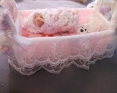 Miniature Baby and Dog made with Polymer clay in a Princess Bed - hand sewn