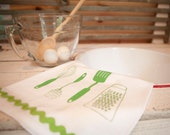 Tea Towel Flour Sack Cotton, Green 'Kitchen Utensils' Ric Rac Trim, Hand Screen Printed