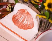 Tea Towel Flour Sack Cotton, Orange 'Fall Pumpkin' Ric Rac Trim, Hostess Gift Hand Screen Printed