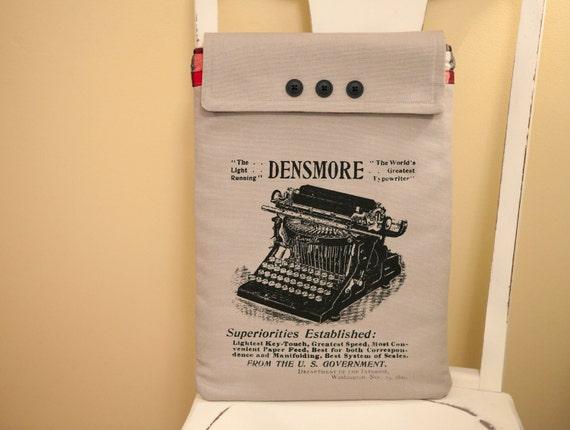 "15"" Macbook Pro Laptop Case, Typewriter Screen Print, Red Flannel Lining"