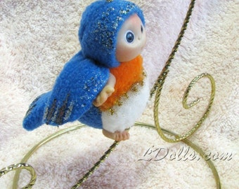 Blue Bird Baby, Christmas Stocking Staffers , Little Toy Christmas Stocking Filler, Cute Baby Doll  made  to order
