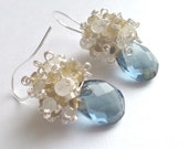 Peacock Lifts the Haze, Teal Grey, Whiskey Quartz and Moonstone Cluster Earrings