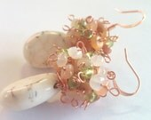 White-Hot Summer, Howlite and Copper Cluster Earrings