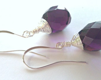 Grape-Tastic, Deep Amethyst Wire-Wrapped Earrings
