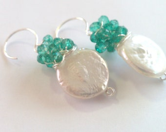 Emerald Coins, Mystic Green Quartz and Freshwater Coin Pearl Cluster Earrings---MATCHING NECKLACE